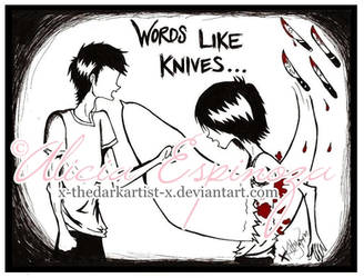 words like knives. by X-thedarkartist-X