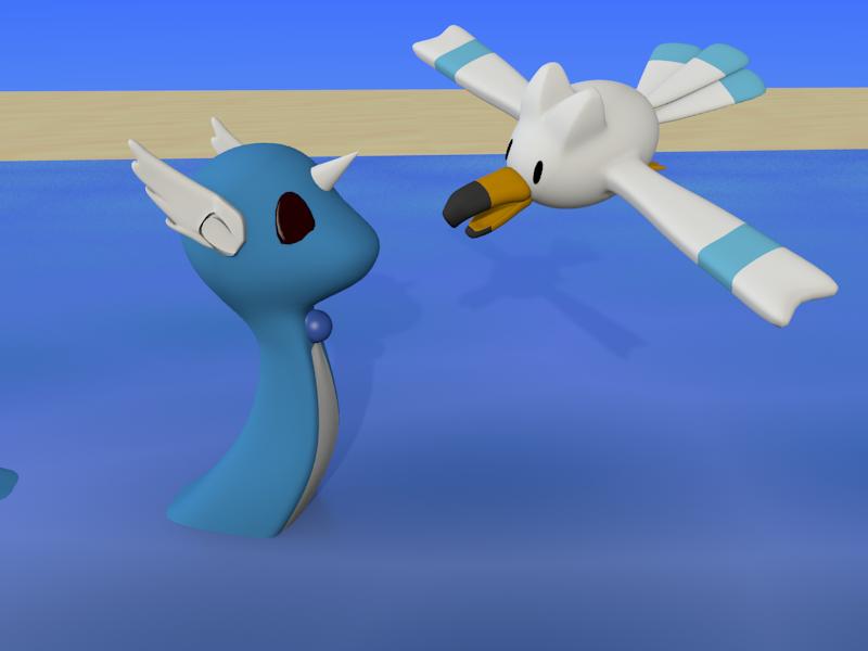 Wingull and  Dragonair by SiverCat