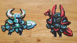 Shovel Knight and Black Knight (mini hama) by ericgant