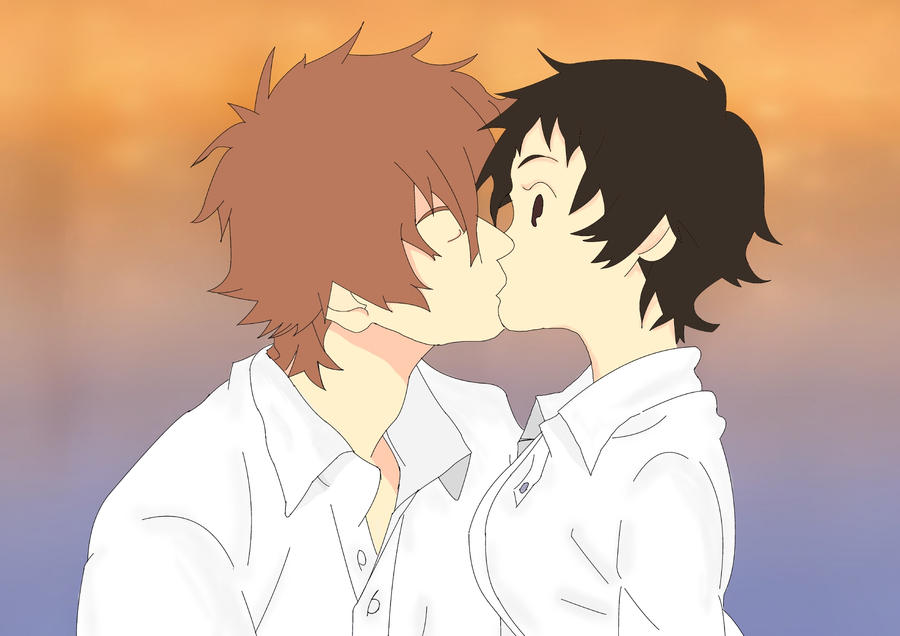 Chiaki and Makato kiss by Fembot13 on DeviantArt