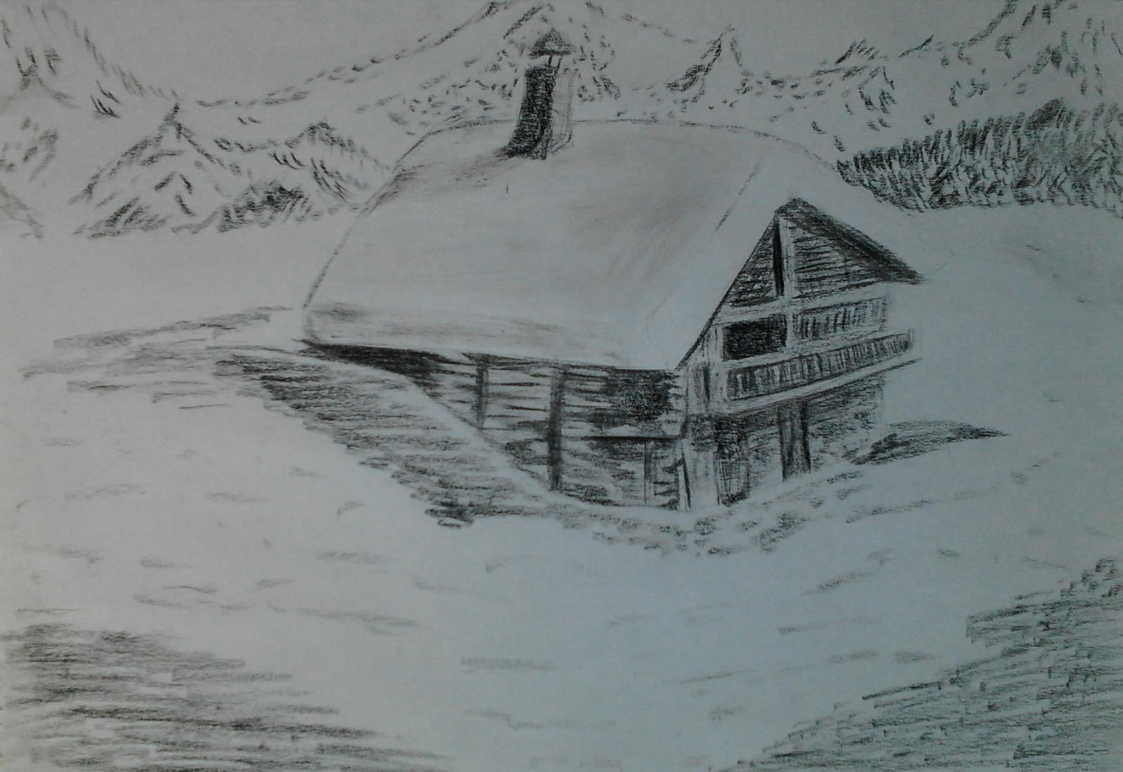 mountain cottage with snow by Mels-drawing on deviantART