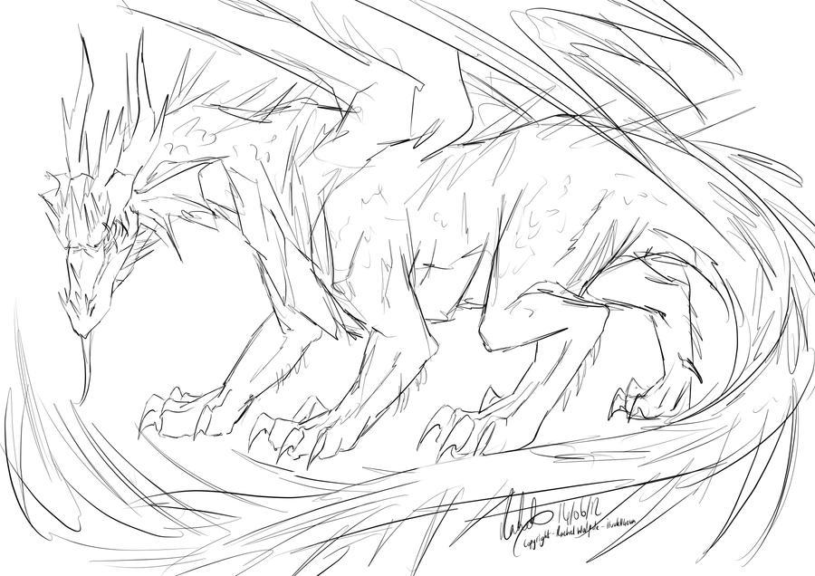 Hunters dragon sketch by nesokaiyoh