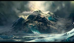 Icy Glacial Mountain Concept