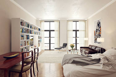 Living room in white by bizkitfan