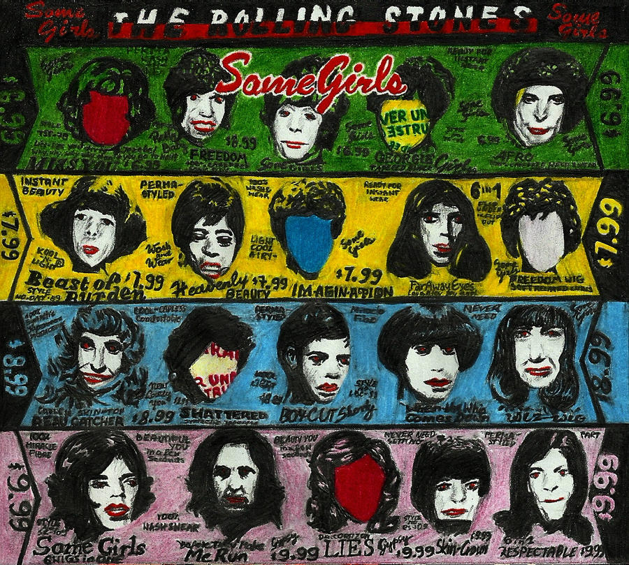 The Rolling Stones- Some girls (crayons, graphite) by