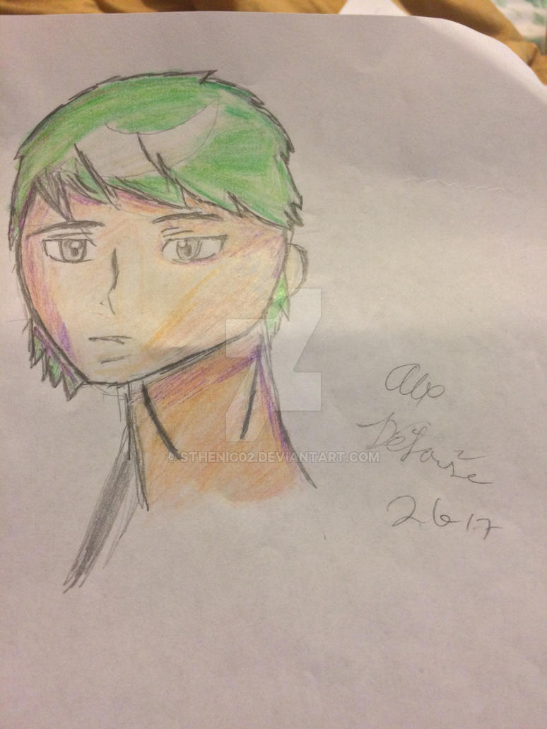 anime boy head in 34 view sketch by sthenic02