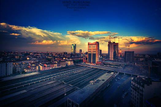 Milan at sunset. ...