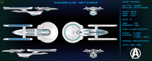 Excelsior Class Refit Starship Orthographic