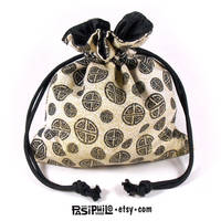 Eastern Runes Printed Cotton Satin Lined Dice Bag