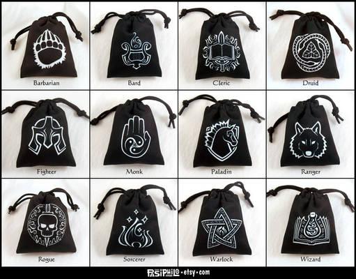 Fantasy RPG Class Dice Bags