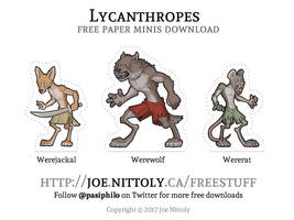 Free Lycanthropes Paper Minis