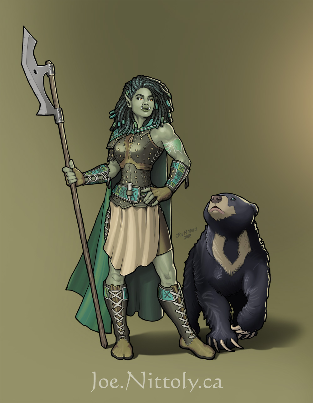 Shiv, Half-Orc Ranger (commission) by Pasiphilo