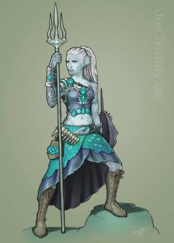 Anryn, Triton Barbarian (Commission)