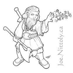Nezia, Dwarf Fighter (line art commission)