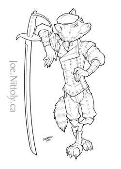 Mylo, Rak-Kobold Assassin (line art commission)