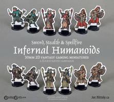 Infernal Humanoids 2D 30mm RPG Minis (Kickstarter)