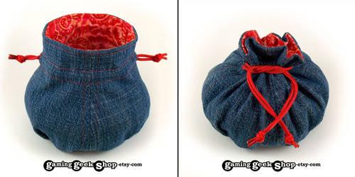 Ruby Swirls Recycled Denim Dice Bag