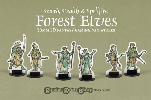 Forest Elves 2D 30mm Fantasy Gaming Miniatures