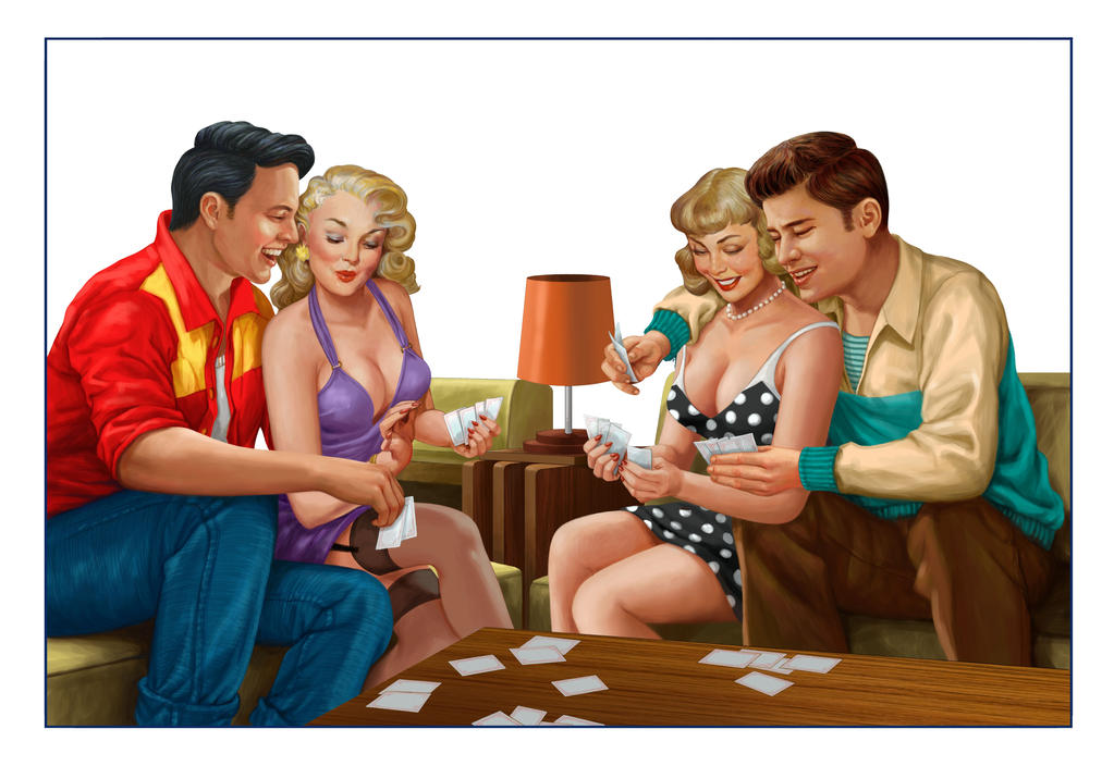 Couple playing cards by Aeonoel