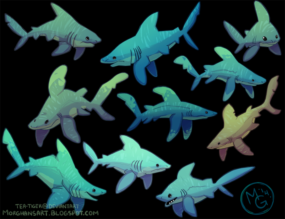 Shark week 2014 - colored by tea-tiger