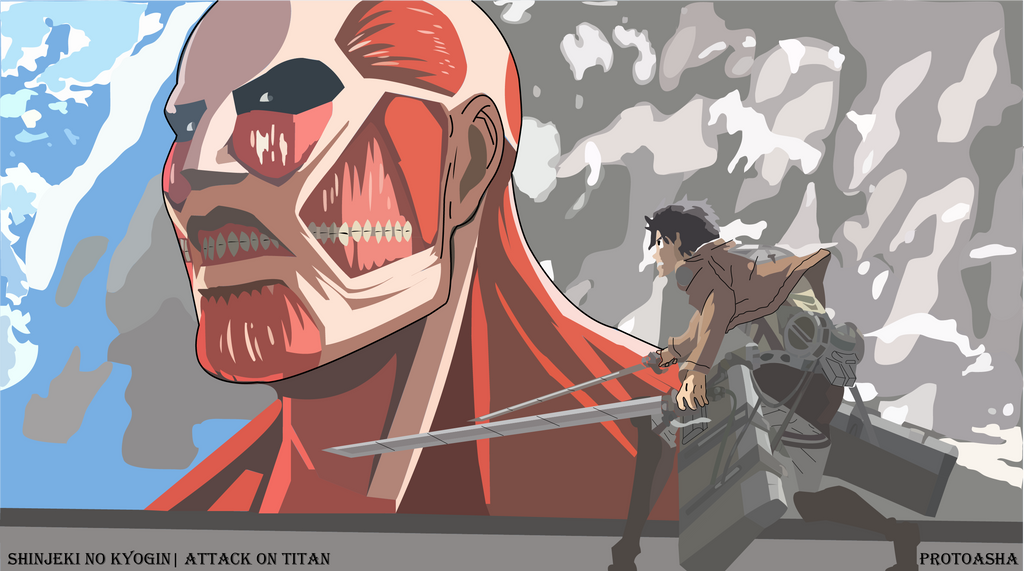 Eren vs. Colossal Titan by protoasha on DeviantArt