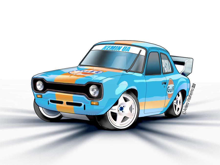 Ford Escort rally car cartoon by Artbyantero