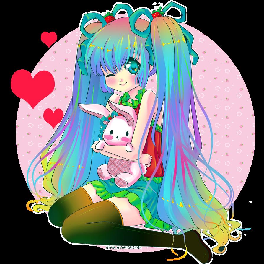 :Colored Strawberry Miku: by Megumita0w0