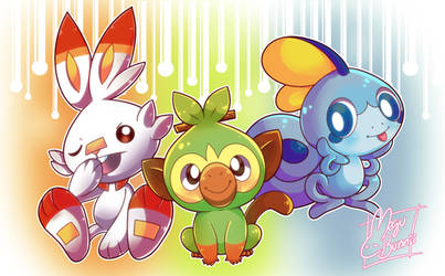 :PokemonSwordShield: New Starters by MeguBunnii