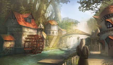 waterfall village by peterhurman