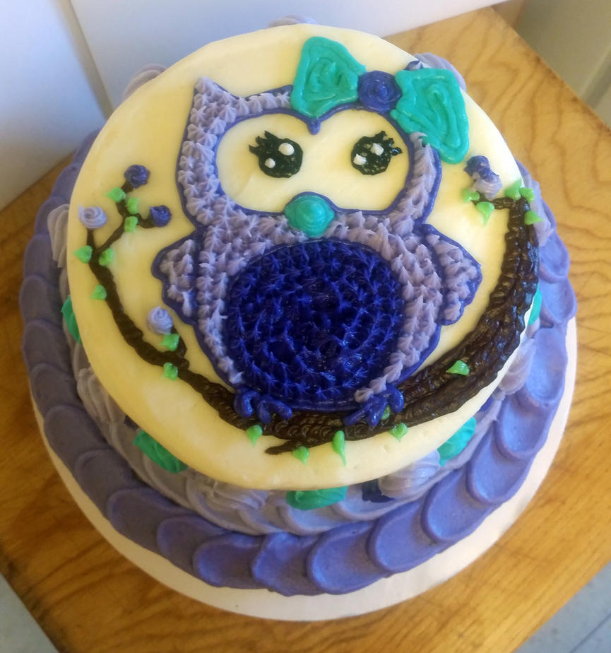Owl cake top by RainbowsEndPastries