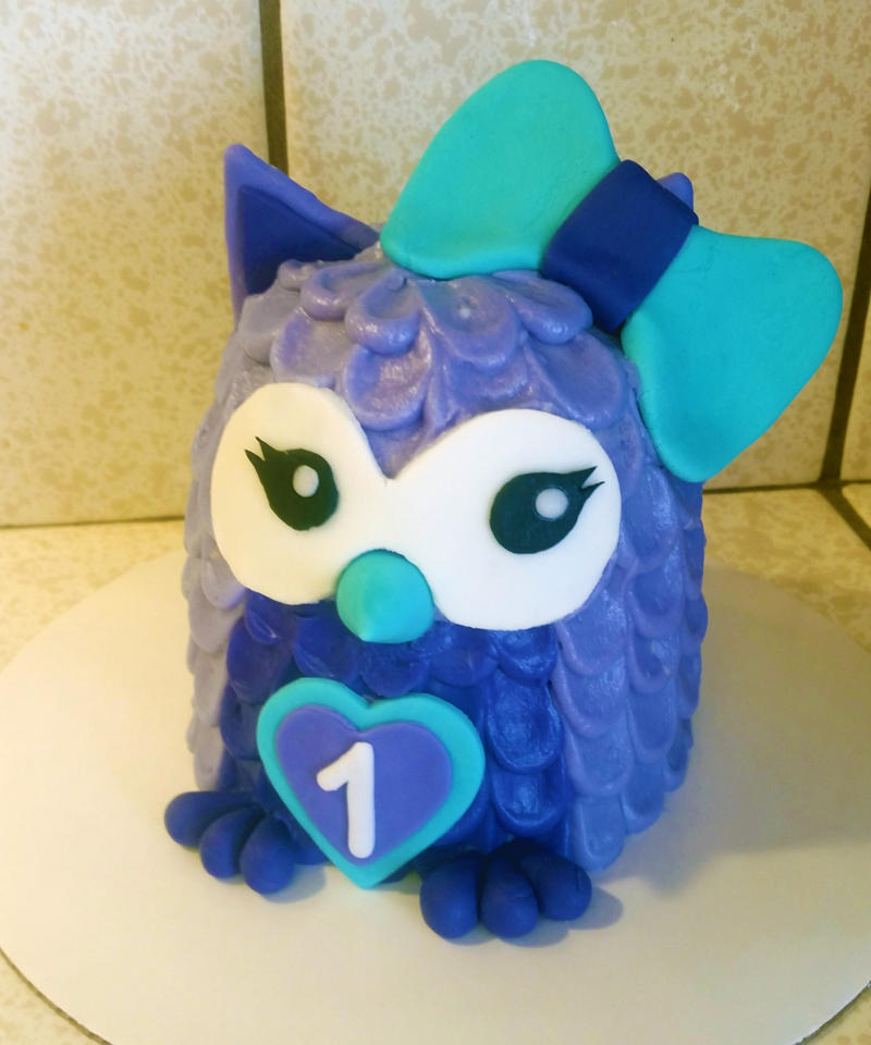 Owl smash cake by RainbowsEndPastries