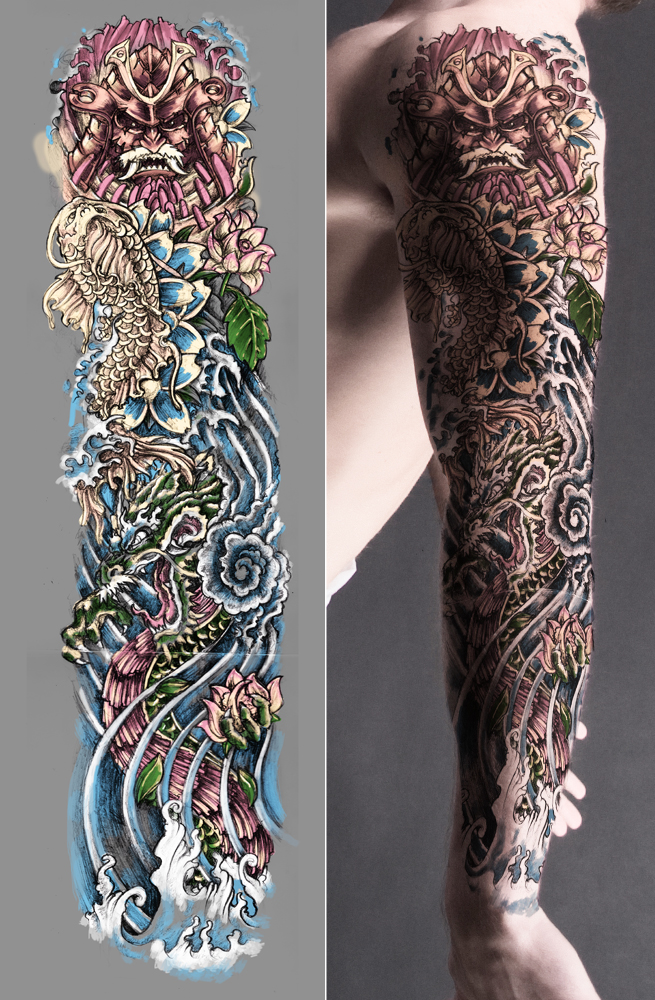 Japanese tattoo sleeve colored by t3hspoon on deviantart for Japanese tattoo art
