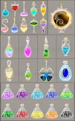 Potions and elixirs commissions by Rittik-Designs