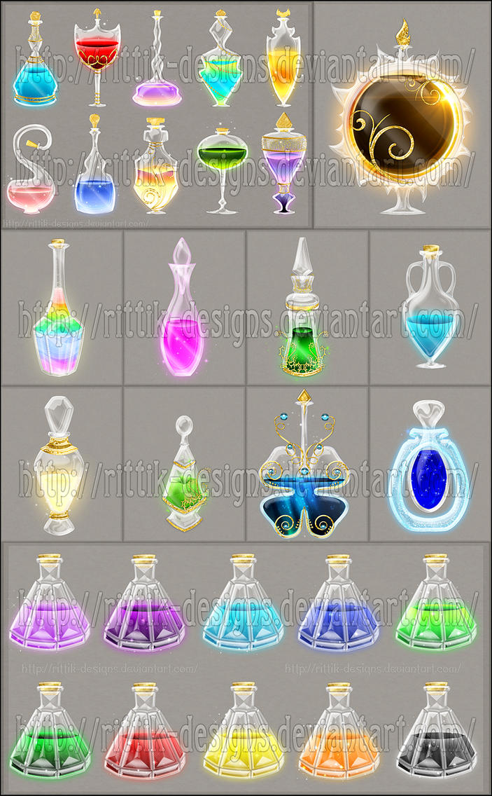 Potion Commissions by Rittik-Designs