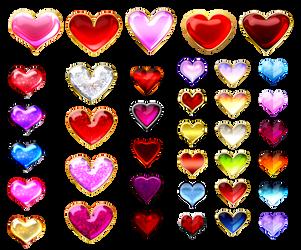 Heart gems (free stock) by Rittik-Designs