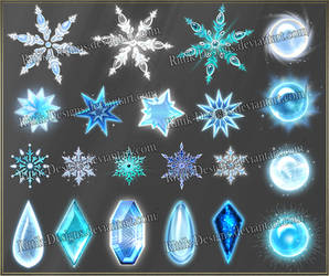 Winter gems and snowflakes (downloadable stock) by Rittik-Designs
