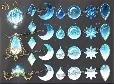 Colorful Gems - light blue (downloadable stock)