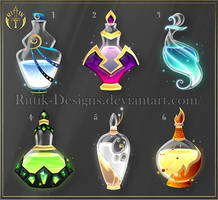 (CLOSED) Potion set 5 by Rittik-Designs