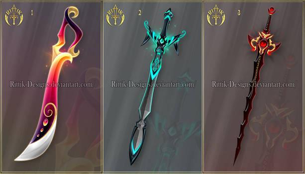 (CLOSED) Swords adopts 35 by Rittik-Designs