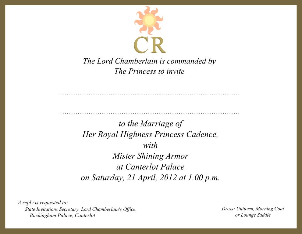 Royal Wedding Invitation Wording: Canterlot Royal Wedding Invite By RocketmanTan On