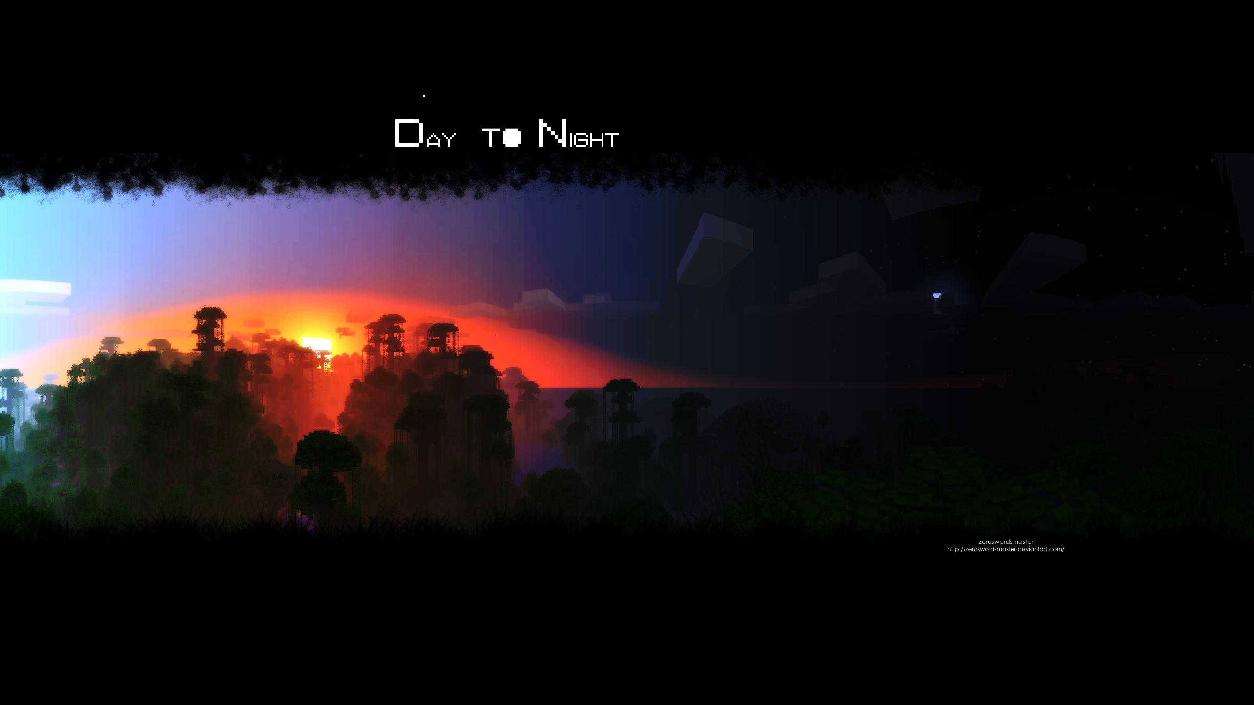 Popular Wallpaper Minecraft Night - day_to_night__minecraft__by_zeroswordsmaster-d4sfd3x  Gallery_833538.png