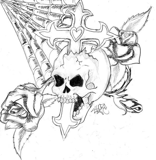 Skull, Cross, And Rose 2 by Haze510 on DeviantArt Skull And Cross Drawing