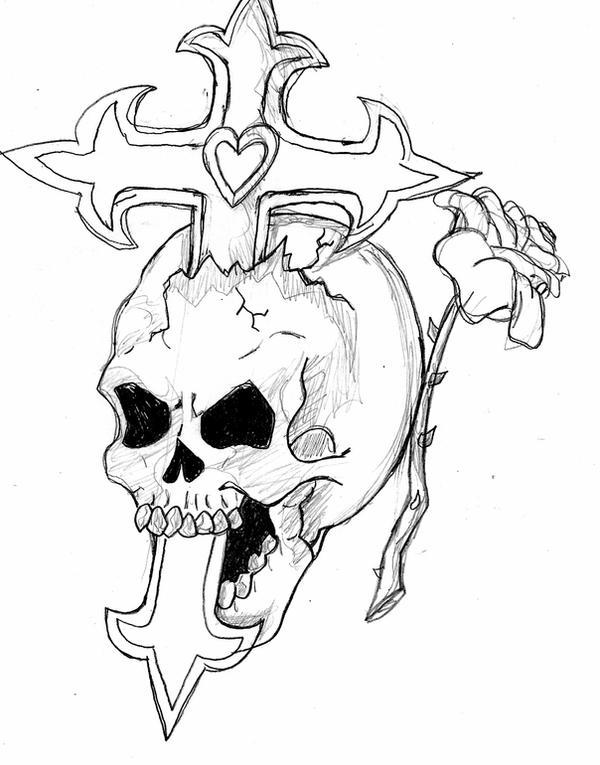 Skull,Cross,and Rose by Haze510 on DeviantArt Skull And Cross Drawing