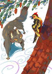 Wolf and woodpecker
