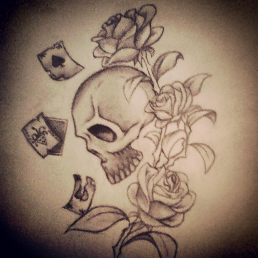 Easy skull drawings with roses