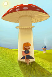 Alice under mushroom by TheDotsAreJoined