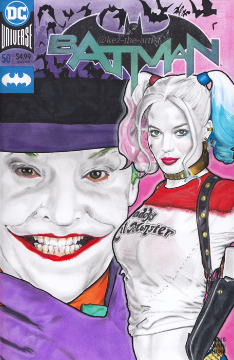 Jack Nicholson Margot Robbie Batman Comic Art by Kez-the-artist