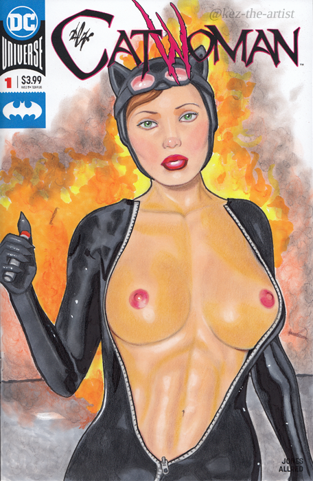 Catwoman Selina Kyle DC Pin Up Cover Art by Kez-the-artist
