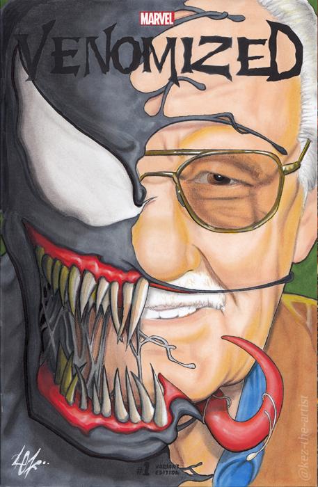 Venomized Stan Lee Marvel Blank Variant Cover Art by Kez-the-artist