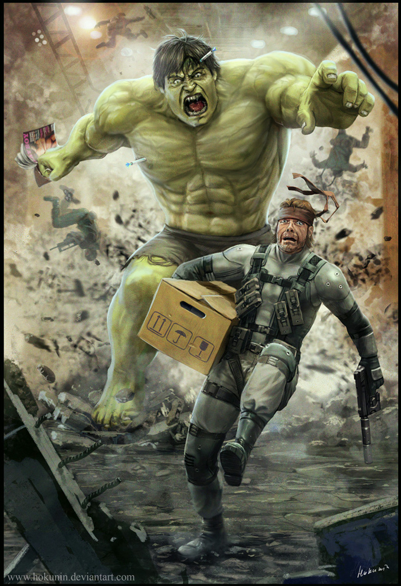 Solid Snake VS Hulk by Hokunin